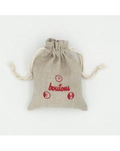 Petit sac en ln avec motif brodé. Boutons.