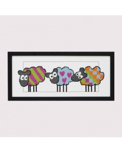 Sheep with stripes, hearts, squares. Counted cross stitch embroidery kit. Permin of Copenhagen.