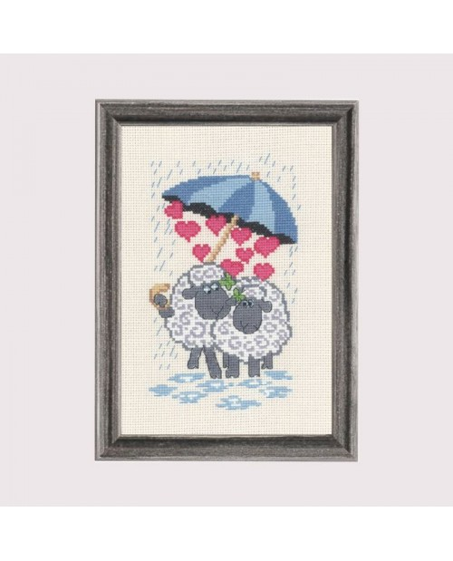 Sheeplove. Counted cross stitch embroidery kit. Permin of Copenhagen.