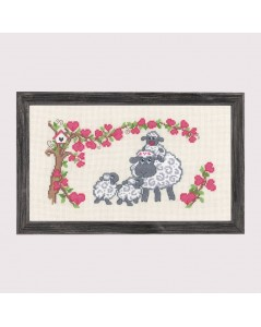 Sheep family. Counted cross stitch embroidery kit. Permin of Copenhagen.
