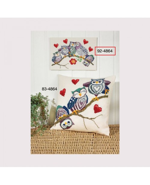 Owls on a stick. Embroidery kit by Permin of Copenhagen