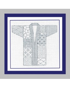 Traditional japanese kimono to stitch with Sashiko technique on white background. Le Bonheur des Dames