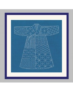 Japanese Kimono on blue background to stitch by Sashiko technique. Printed design. Le Bonheur des Dames