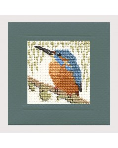 Kingfisher - counted cross stitch motive to stitch on a greeting card. Textile Heritage Collection. 342952