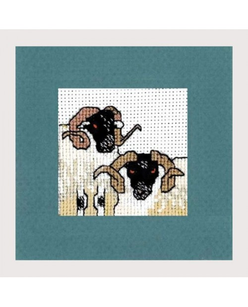 Black sheep heads. Embroidery. Textile Heritage