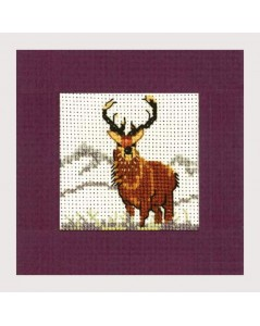 Stag. Counted cross stitch embroidery. Textile Heritage