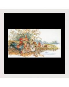Poules et coqs - broderie point de croix. Création de Thea Gouverneur