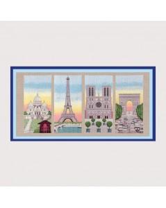 Kit broderie point de croix, point compté. Les monuments de Paris. Référence 1167. Le Bonheur des Dames