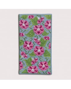 Spectacle case Morning Glory to cross stitch. Embroidery kit Le Bonheur des Dames. Item n° 3236