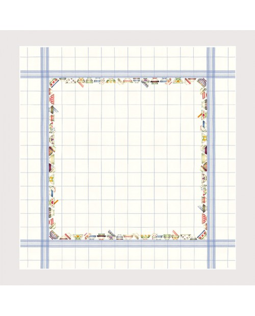 Counted cross stitch embroidery tablecloth. White linen with skyblue stripes. Item n° 6023blc-cie.