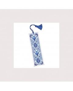 Delft Bleu. Kit broderie point de croix, point compté. Marque-page. Textile Heritage.
