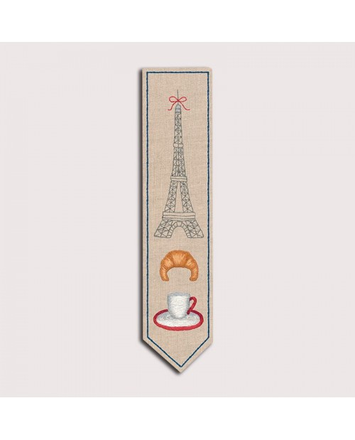 Bookmark with the Eiffel Tower. Printed design. Satin stitch embroidery. 4711