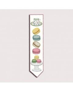 Kit broderie traditionnelle. Marque-page Macarons. Le Bonheur des Dames 4712