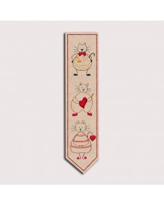 Traditional embroidery kit. Bookmark Cats. Printed design. Le Bonheur des Dames. Item n° 4716