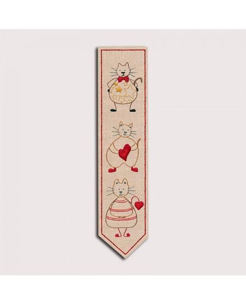Marque-page imprimé. Chats. Kit broderie traditionnelle. Le Bonheur des Dames. Référence 4716