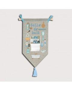 Kit broderie point de croix, point compté. Salle de bain. Panneau à accrocher à la porte. Le Bonheur des Dames