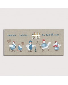Counted cross stitch embroidery kit. Kitchen on the sea side. Chickens by the sea. Le Bonheur des Dames 1065