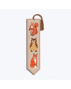 Marque-page à broder de façon traditionnelle. Motif: écureuil, hiboux, renard. Le Bonheur des Dames 4710