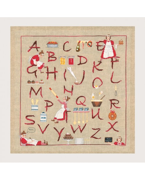 Alphabet Madame Cuisine. Counted cross stitch embroidery kit. Item n° 2667. Le Bonheur des Dames.