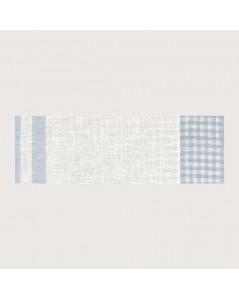 Bande à broder en lin 11 fils/cm. Vichy blanc et bleu ciel. Le Bonheur des Dames BD86