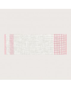 Bande à broder en lin 11 fils/cm. Vichy blanc et baby rose. Le Bonheur des Dames BD87