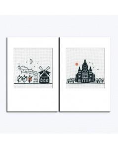 Cartes de vœux à broder avec les enveloppes. Moulin Rouge et Sacre Cœur. Référence 7532.