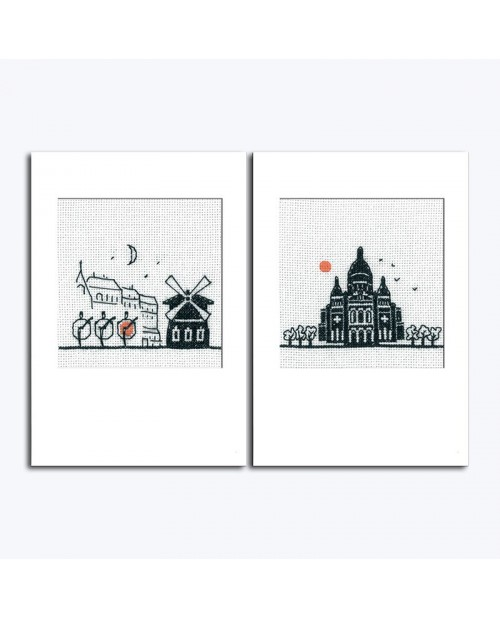 Kit of two greeting cards to embroider with envelops. Moulin Rouge and Sacre Cœur. Item n° 7532