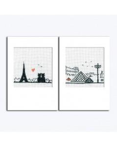 Deux cartes à broder au point de croix, motif Tour Eiffel et Pyramide de Louvre. Le Bonheur des Dames. Référence 7533