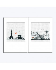 Two greeting cards to cross stitch. Motive the Eiffel Tower, two cats, the Pyramide of Louvre. 7533