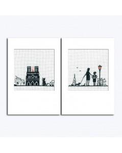 Deux cartes de vœux à broder au point de croix. Motif: Notre Dame de Paris, la Tour Eiffel, couple de parisiens avec le chien.