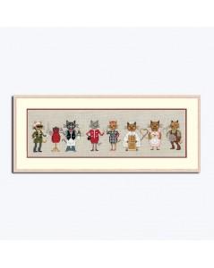 Kit broderie point de croix, point compté, frise de chats parisiens. Référence 1090.
