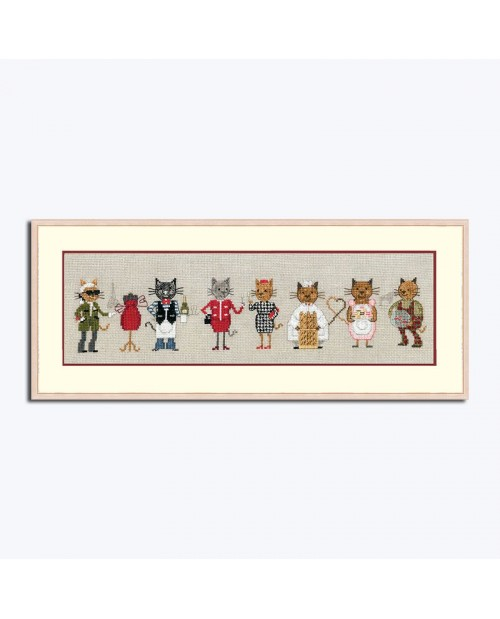 Counted cross stitch embroidery kit. Parisian Cats Frieze. Item n° 1090