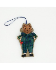 Cat in a Scottish tartan costume, embroidered.