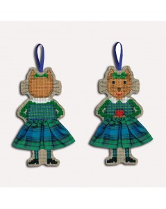 Cat in a Scottish tartan skirt. To cross stitch. Le Bonheur des Dames