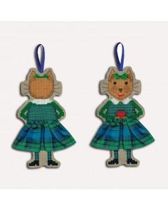 Chat en jupe écossaise en tartan. Broderie point de croix, point compté. Le Bonheur des Dames. 2636