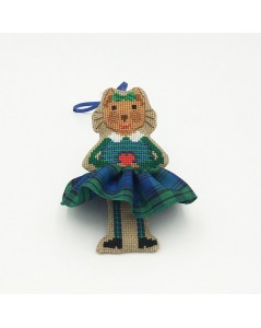 Cat in a Scottish tartan skirt, embroidered design.