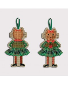 Cat in a Scottish tartan skirt, apple green. To cross stitch. Le Bonheur des Dames. 2637