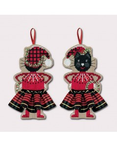 Cat in a Scottish tartan skirt, black and red. To cross stitch. Le Bonheur des Dames. 2639