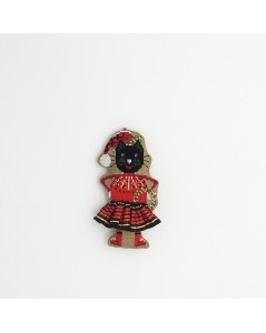 Embroidered decorative suspension - black cat in a Christmas had and in a black and red tartan skirt. 2639