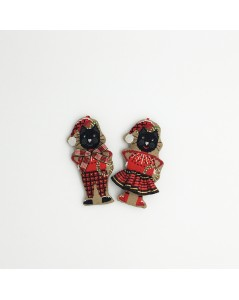 A couple of black cats wearing Christmas hats and red and black tartans. 2639 Le Bonheur des Dames