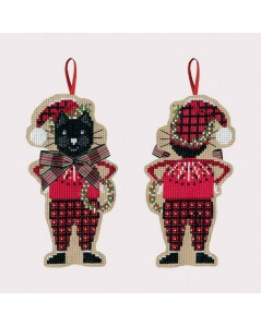 Black cat in red Christmas tartan costume. Decorative suspension to cross stitch. Le Bonheur des Dames 2640