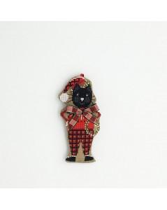 Suspension brodé. Chat noir en costume de Noël rouge tartan. Le Bonheur des Dames 2640