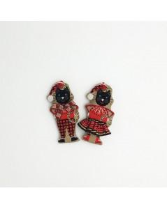 Couple de chats noirs en tartan de Noël. Le Bonheur des Dames.