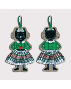 Counted cross stitch embroidery suspension. Black cat in green cardigan and white-green tartan skirt. 2641. Le Bonheur des Dames