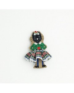 Embroidered Christmas decoration - black cat in white-green tartan. Item n° 2641