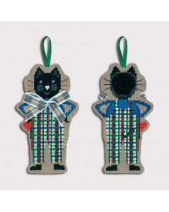 Black cat in white-green tartan overalls. Decorative suspension to embroider. Le Bonheur des Dames 2642