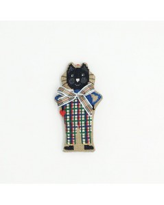 Embroidered decorative suspension - black cat with tartan bow-tie.