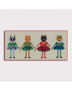Kit broderie quatre chats en jupes.  Le Bonheur des Dames 2644