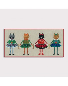 Four cats in skirts. Counted cross stitch kit. 2644. Le Bonheur des Dames
