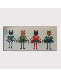 Embroidered design. Four cats in tartan skirts to cross stitch. Le Bonheur des Dames 2644